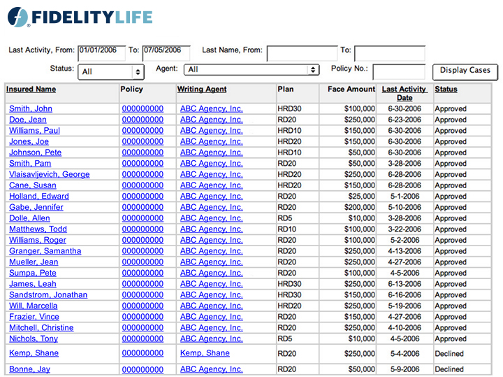 fidelity life term life insurance for agents new business systems